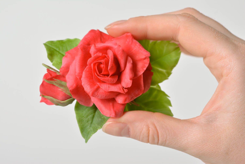 Beautiful handmade designer polymer clay flower brooch hair clip Red Rose photo 1