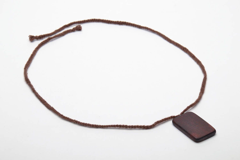 Rectangular wooden pendant in ethnic style photo 4