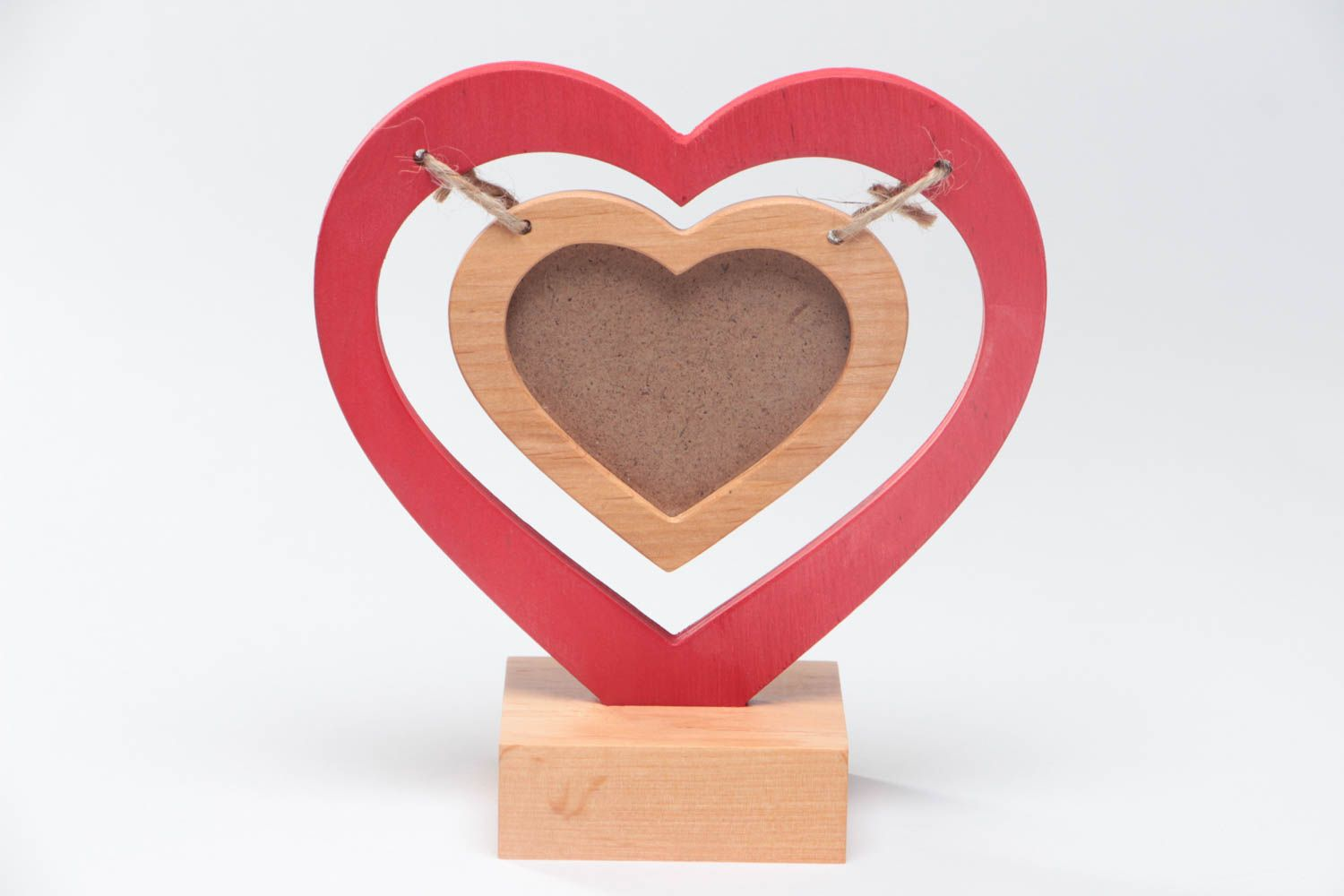 Handmade small designer painted heart shaped wooden photo frame on stand photo 2