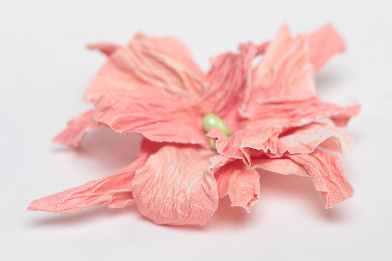 Handmade Pink Artificial Paper Flower Painted With Watercolors Scrapbooking