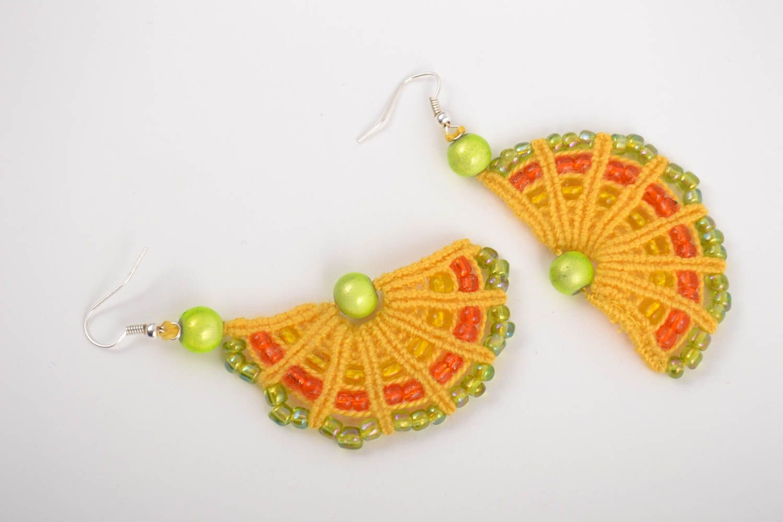 Handmade macrame earrings with beaded charms designer stylish summer accessory  photo 2