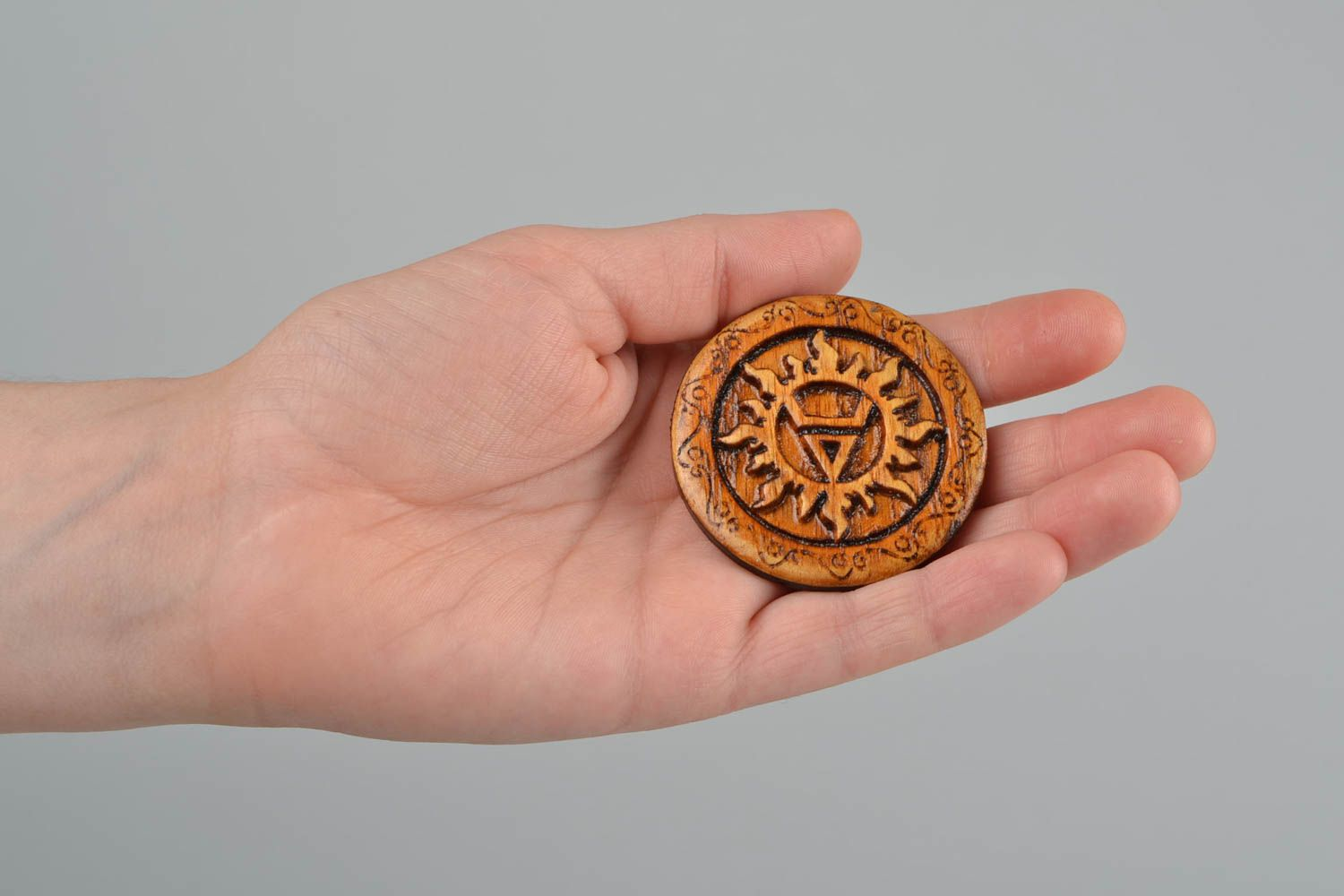 charm pendants Wooden beautiful carved handmade lacquered amulet for home Veles - MADEheart.com