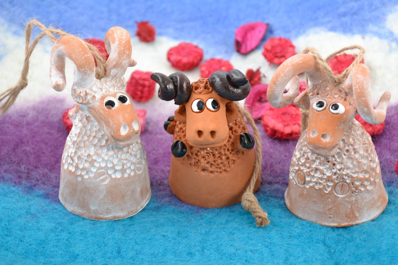 Set of 3 handmade designer ceramic figured bells in the shape of lambs photo 1