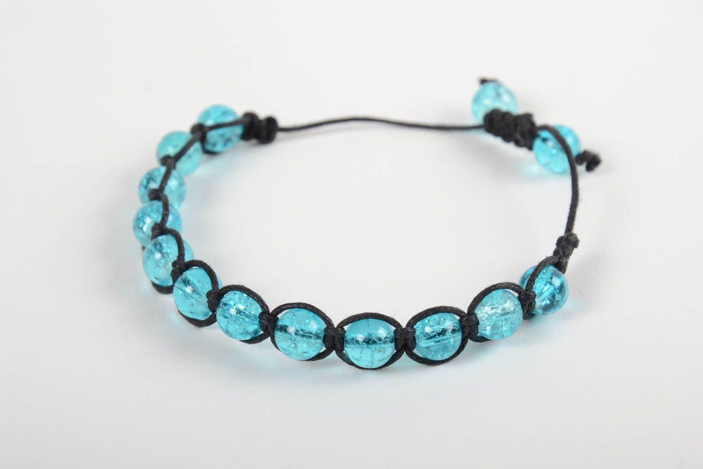 Handmade adjustable bracelet blue beaded accessory stylish wrist bracelet photo 5