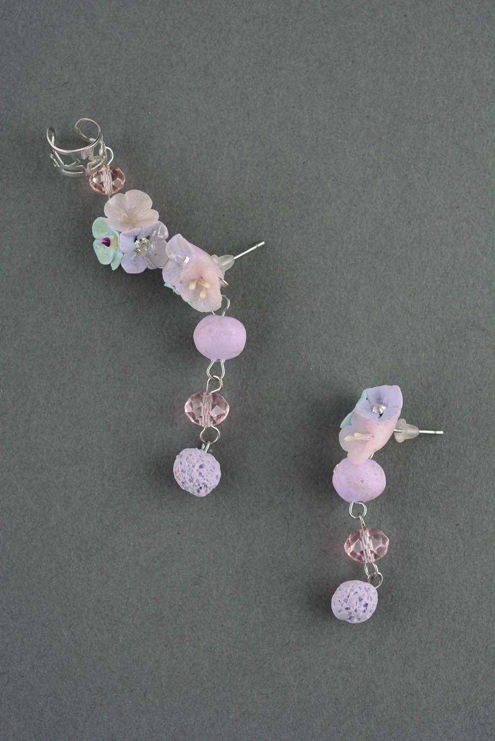 Cuff earrings made of polymer clay Tenderness photo 2