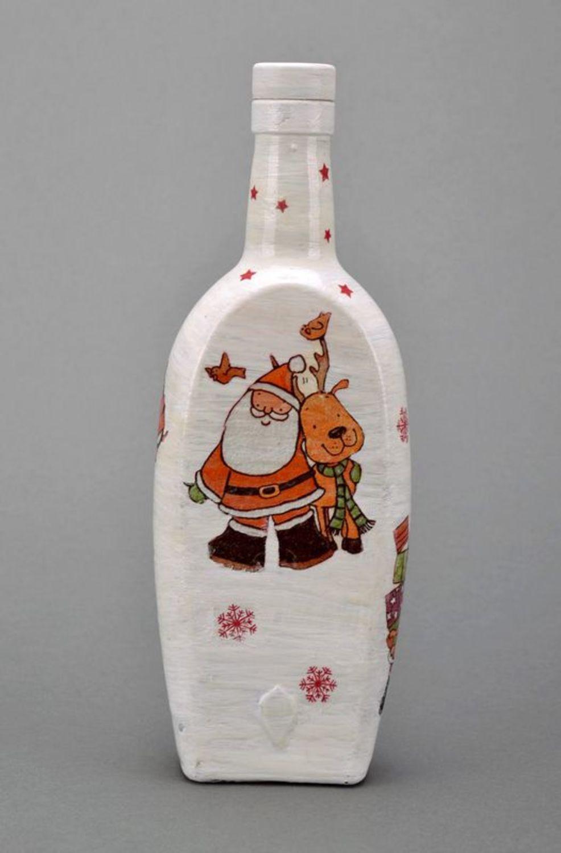New Year decorative glass bottle  photo 3