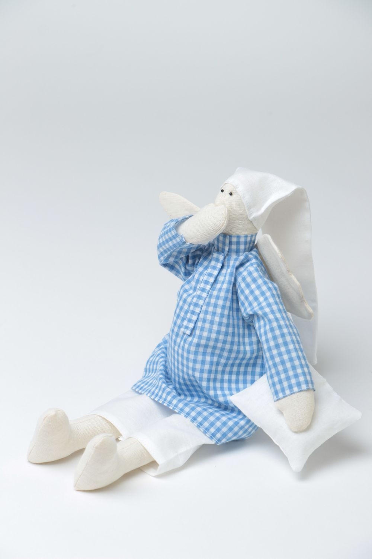 Handmade designer fabric soft doll sleepy angel in blue checkered night shirt photo 2