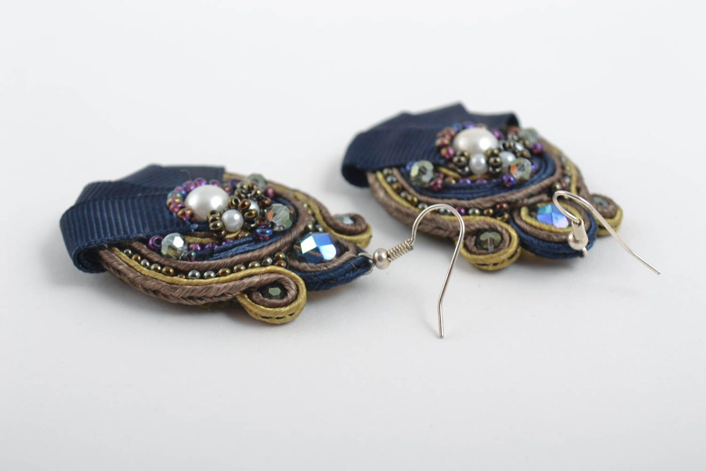 Большие серьги украшения ручной работы сутажные серьги с чешским стеклом синие фото 4