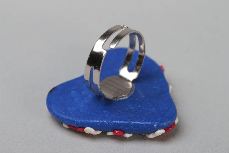Handmade designer heart shaped polymer clay ring on metal basis Union Jack photo 4