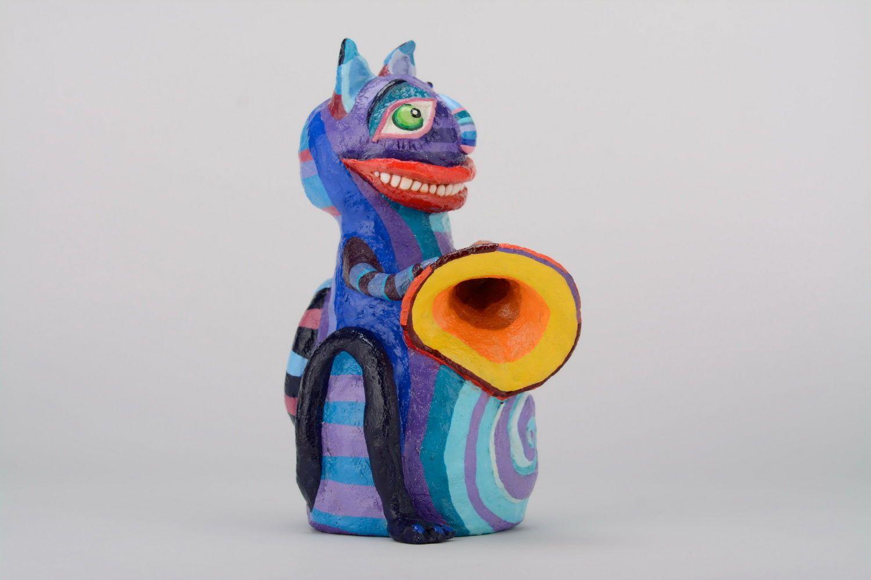 Hucha Gato con trompeta foto 2