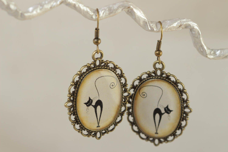 Beautiful handmade earrings made of glass glaze vintage style accessory photo 1
