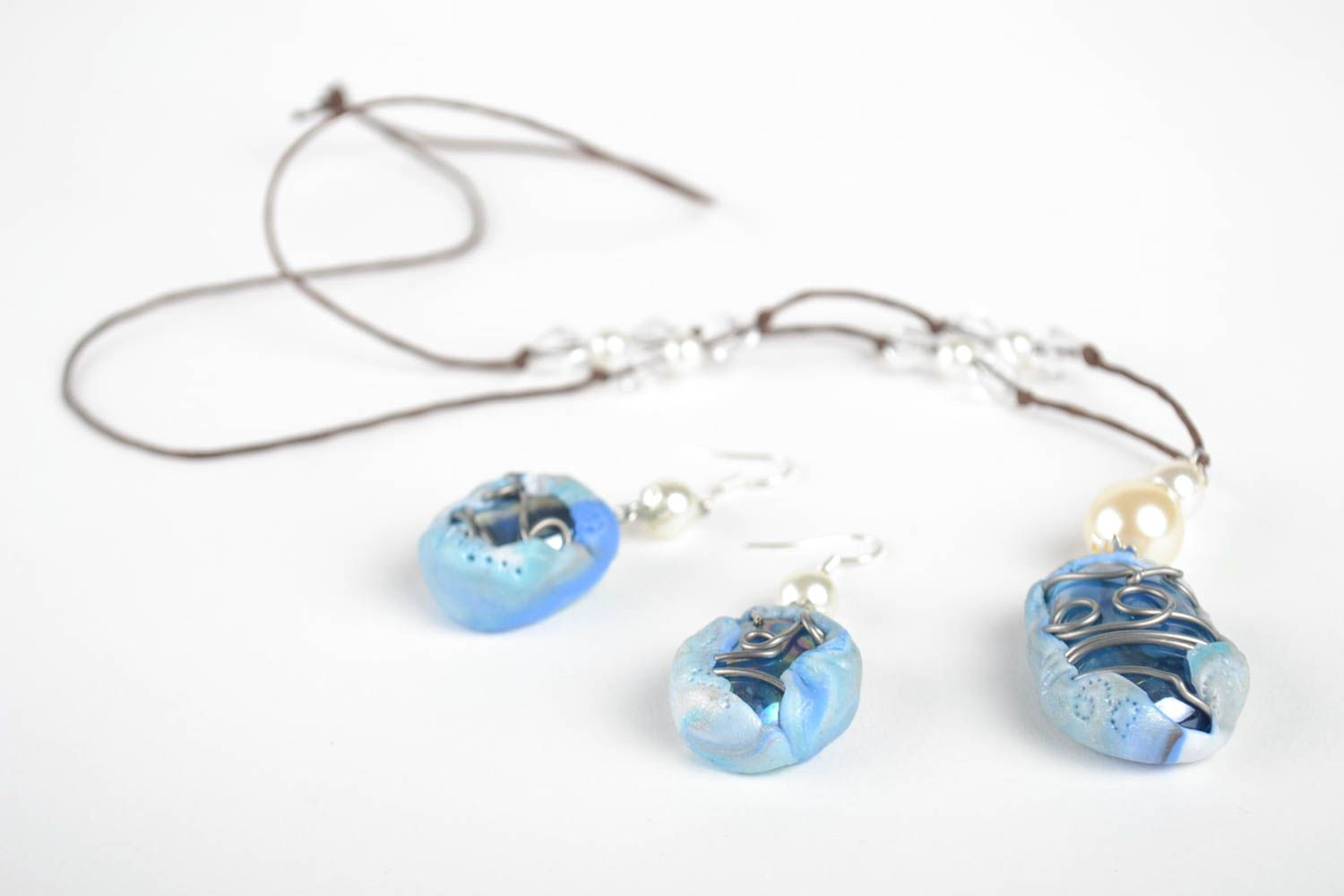 Jewelry set handmade earrings pendant necklace polymer clay fashion accessories photo 2