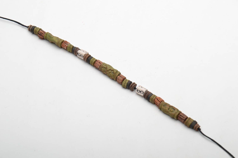 Глиняный браслет в этническом стиле фото 3