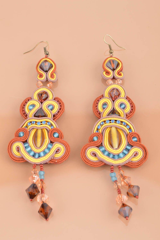 Handmade long dangle soutache earrings brown and yellow designer jewelry photo 2