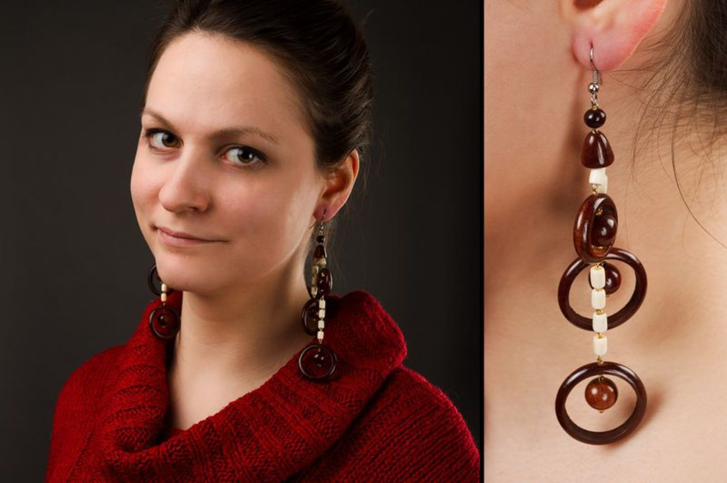 Long wooden earrings photo 2