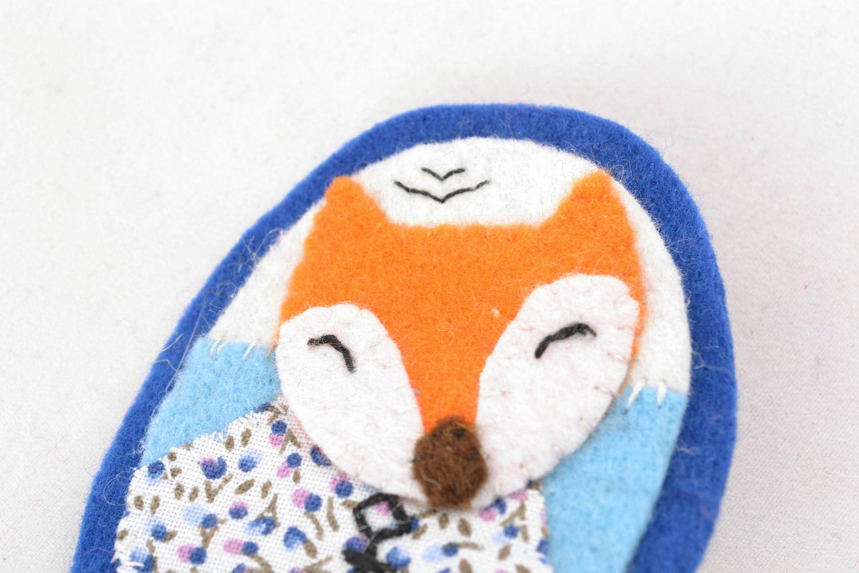 Textile felt brooch badge Fox photo 3