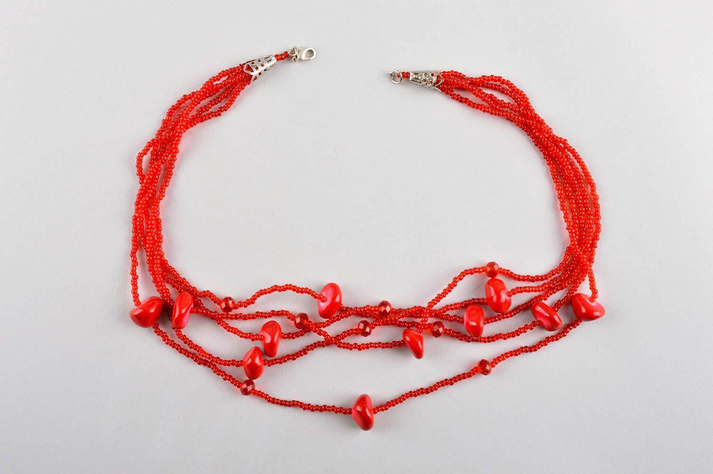Колье из бисера украшение ручной работы красное многорядное ожерелье из бисера фото 5