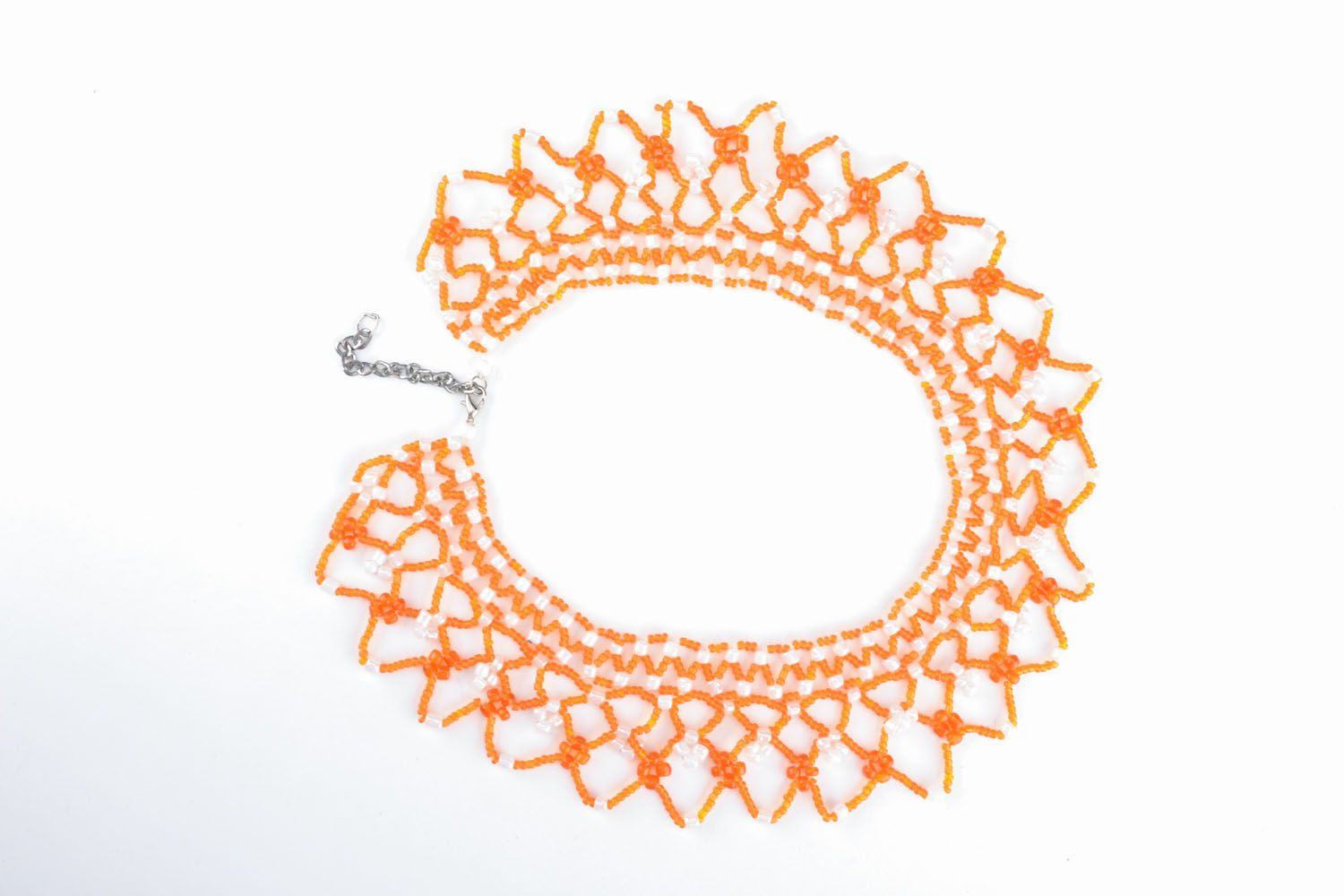 Orange Collier aus Perlen foto 1