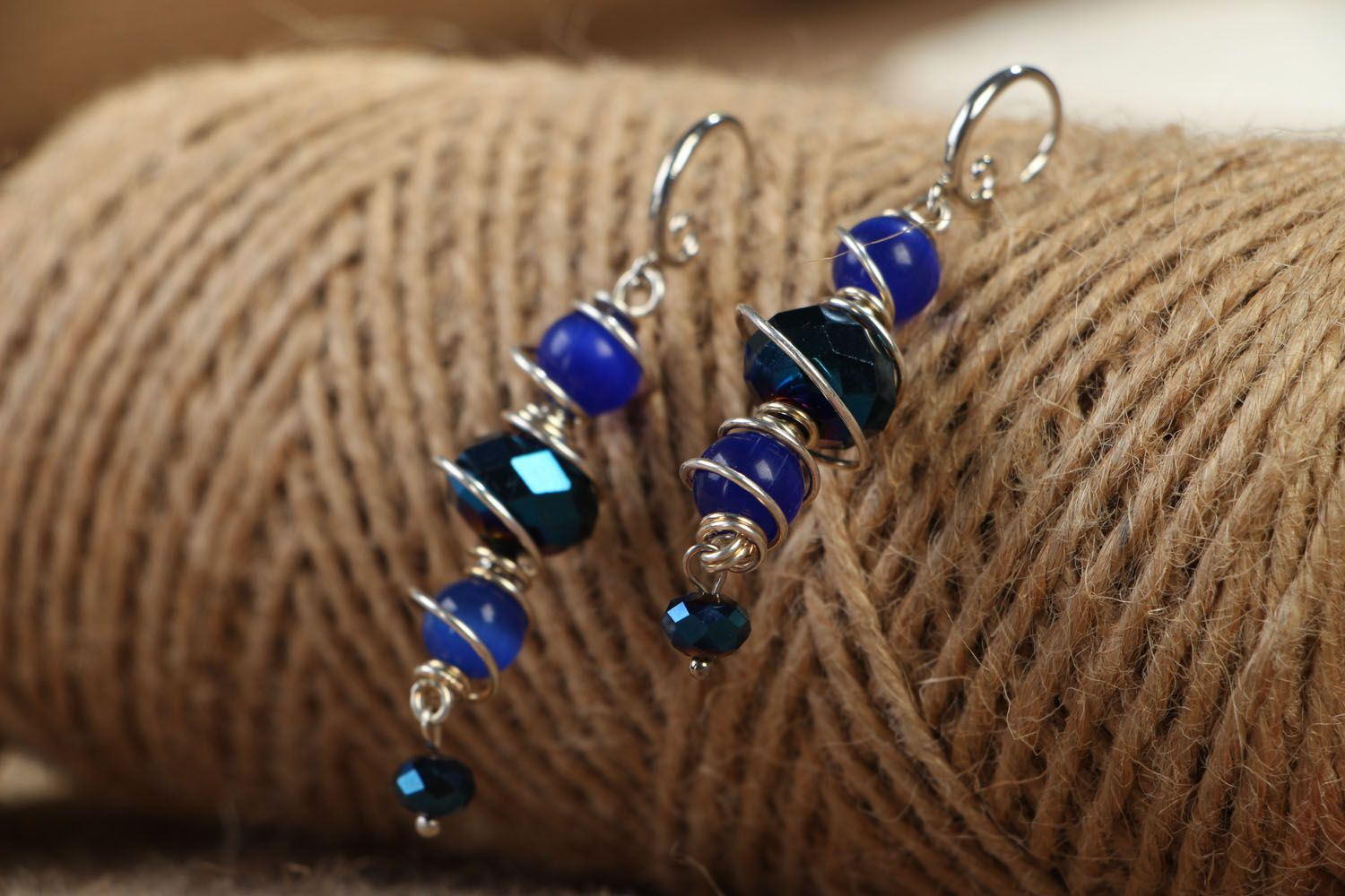 Natural stone earrings of blue color photo 4