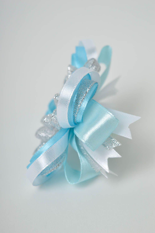 Handmade blue scrunchy stylish satin bow barrette scrunchies for children photo 5