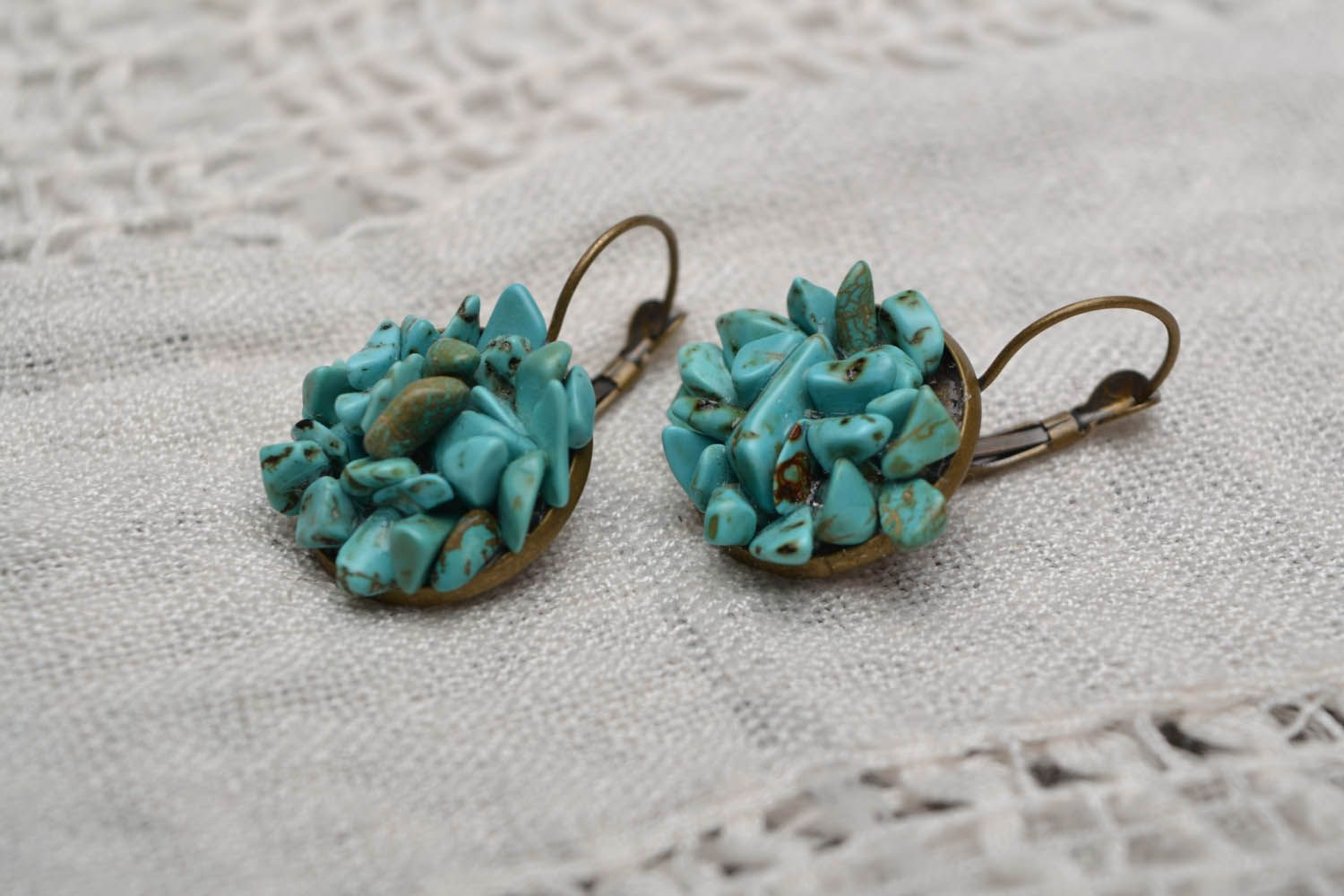 Turquoise round earrings photo 4