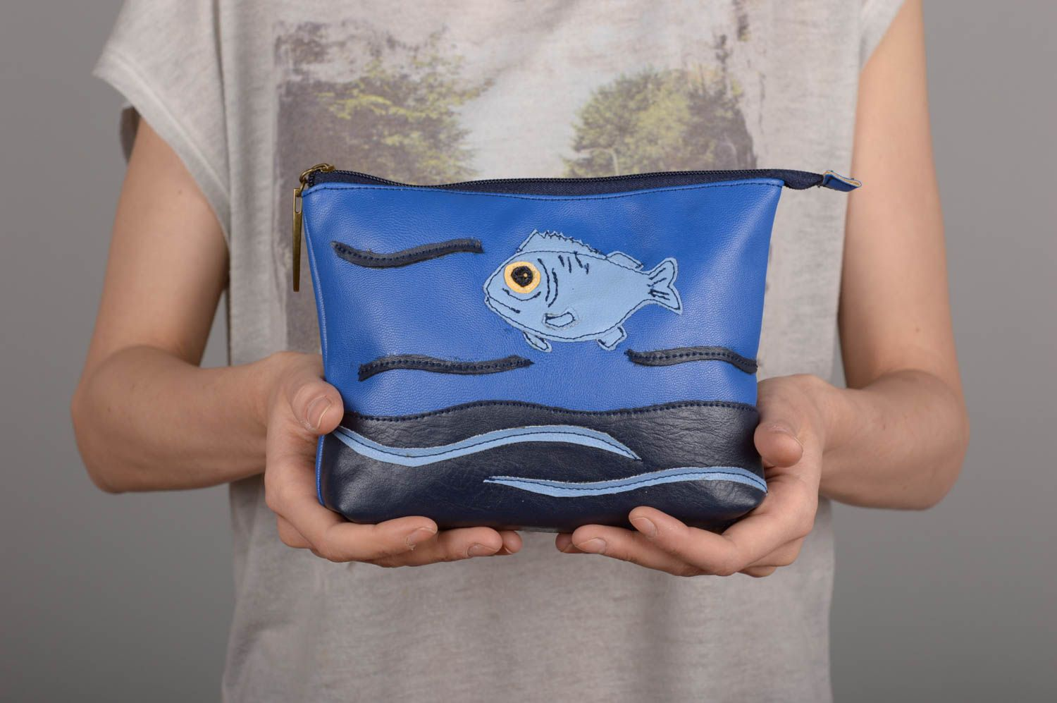 Handmade clutch bag women blue clutch leatherette bag unusual female accessory photo 5
