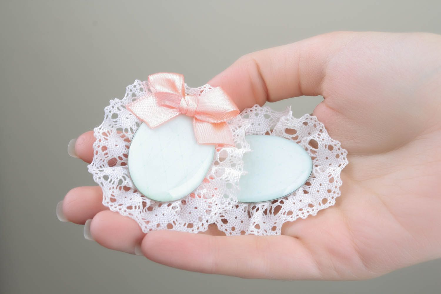 Earrings with lace and bows photo 5