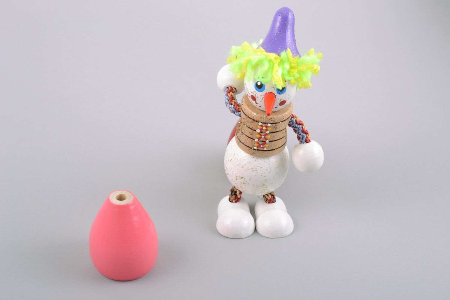 Nice homemade designer painted wooden toy snowman for children photo 1
