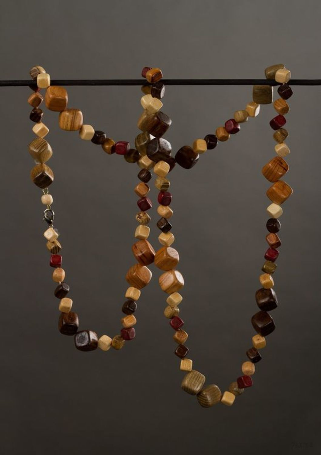 Wooden ethnic beaded necklace photo 1