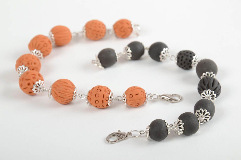Set of 2 handmade beaded bracelets ceramic bracelets fashion accessories photo 1