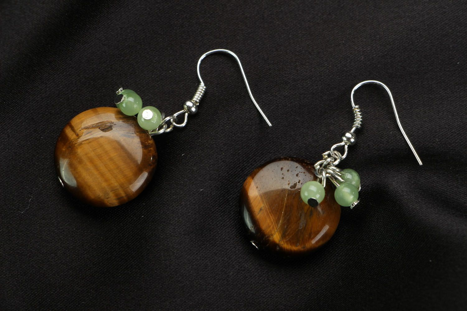 Earrings with chrysoprase and tiger's eye stones photo 1