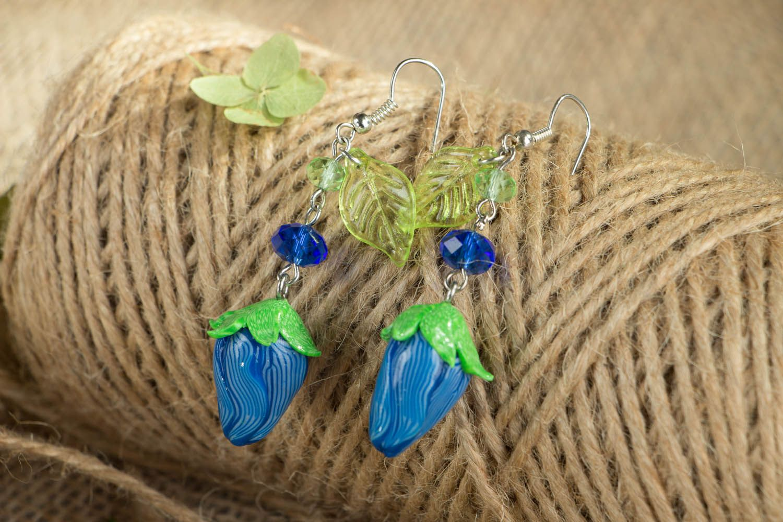 Polymer clay dangling earrings photo 3