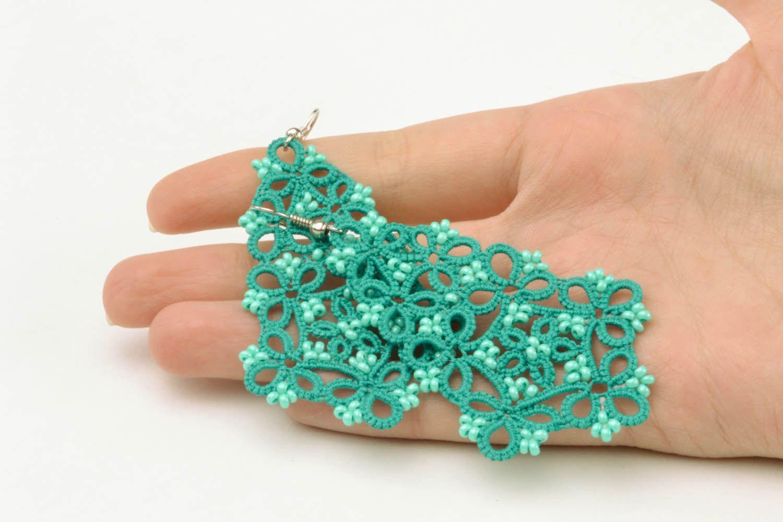 Lace blue earrings photo 5