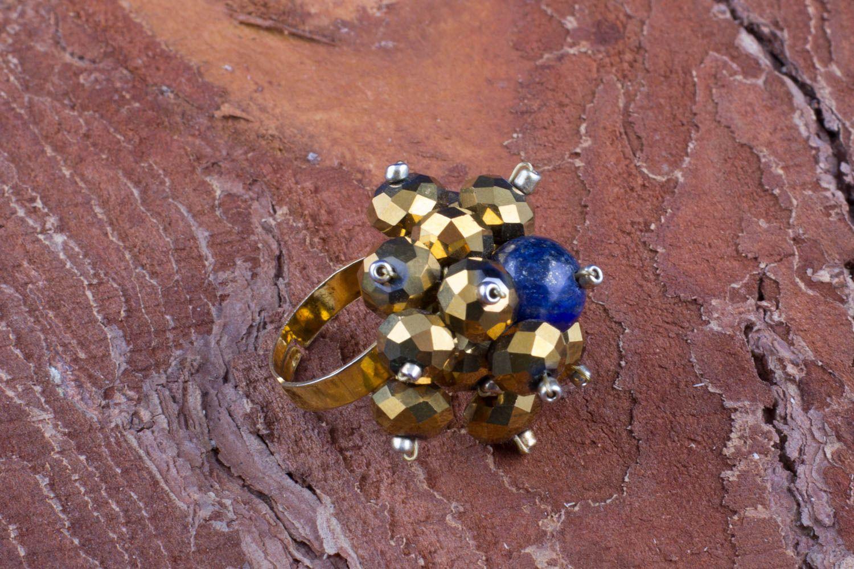 a45cade1a957 anillos con piedras Anillo de piedra natural de lazurita y cristal de color  de oro artesanal