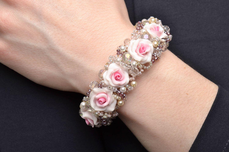 polymer clay bracelets Beautiful gentle polymer clay flower bracelet - MADEheart.com