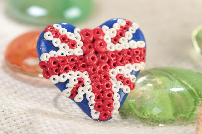 Handmade designer heart shaped polymer clay ring on metal basis Union Jack photo 1