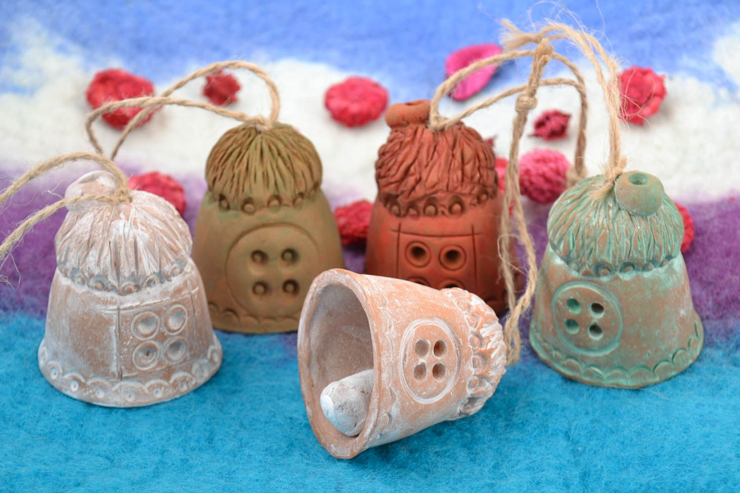 Set of handmade ceramic bells houses 5 pieces made of red clay for home decor photo 1