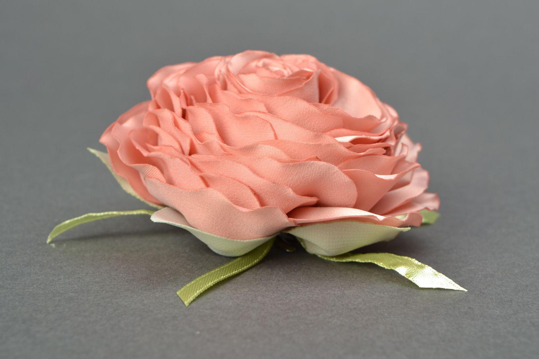 Satin ribbon brooch hair clip in the shape of tea rose photo 3