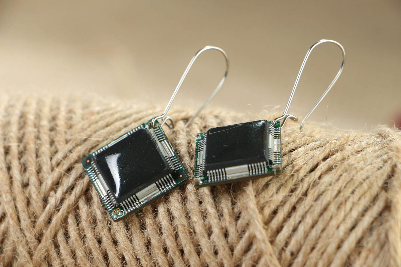 Cyberpunk earrings with microchips photo 3