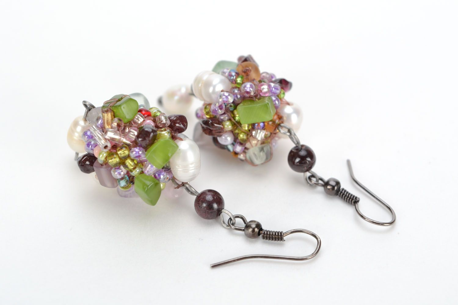 Homemade earrings with river pearls and natural stones photo 3