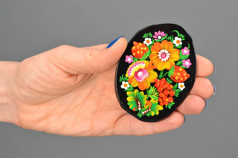 Handmade fridge magnet with Petrikivka painting photo 2