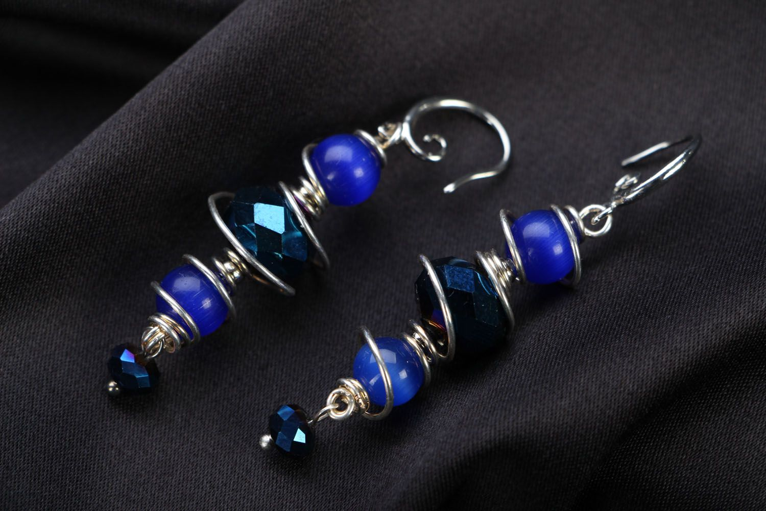 Natural stone earrings of blue color photo 1