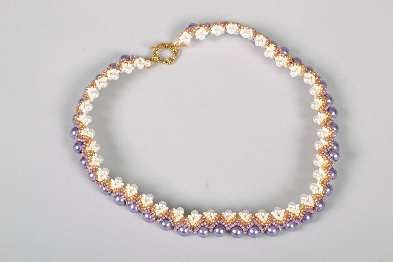 Lila Collier aus Perlen foto 3