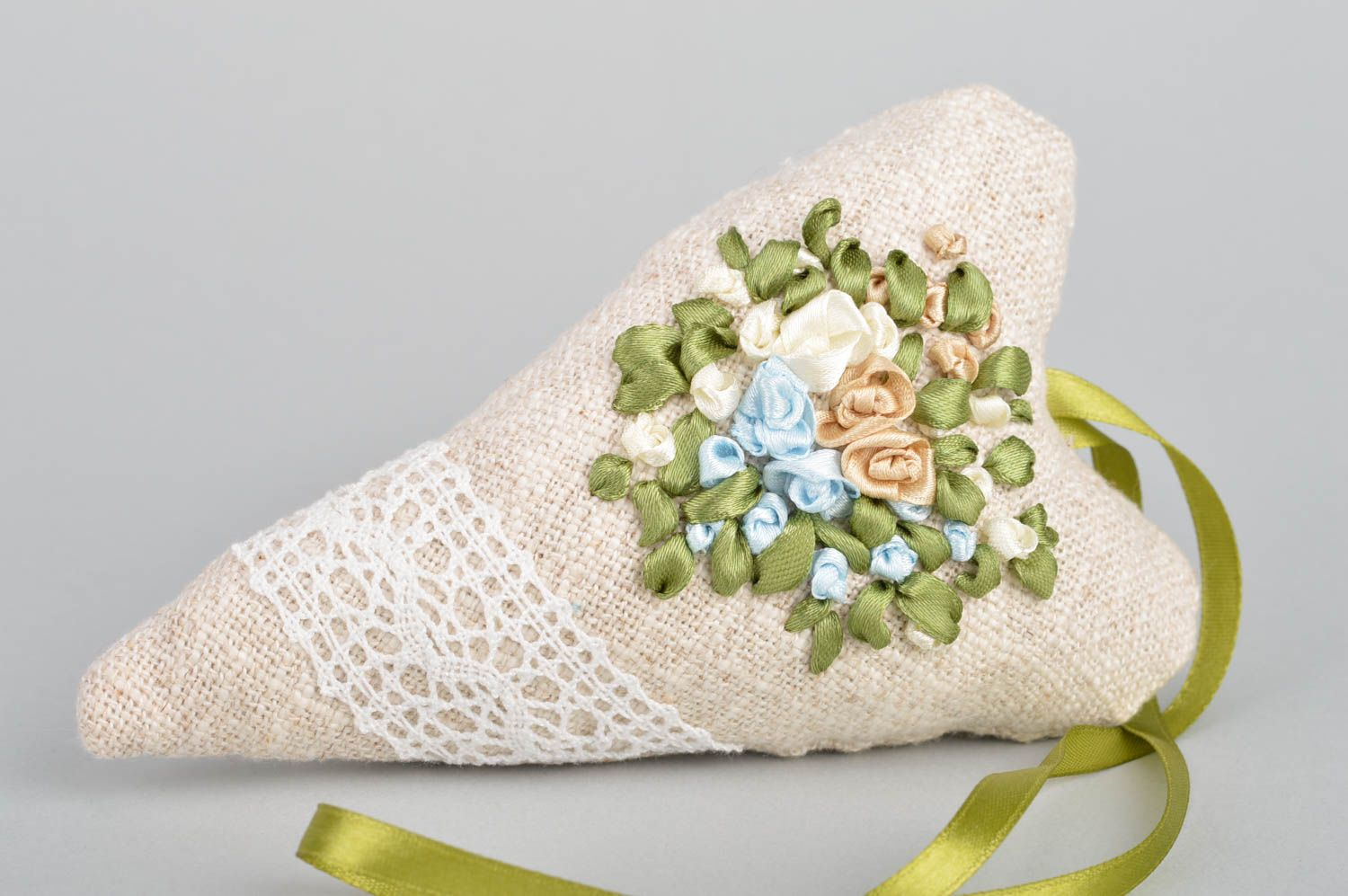 Beautiful handmade heart shaped linen sachet pillow with embroidery and herbs  photo 2
