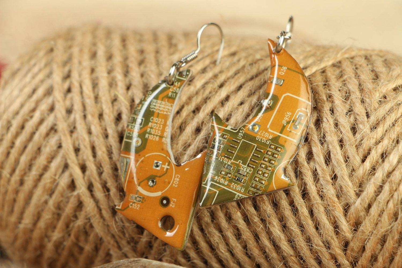 Unusual metal earrings in steampunk style Arrows photo 5