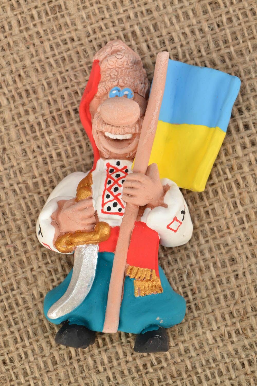 Ceramic fridge magnet Cossack with flag photo 1