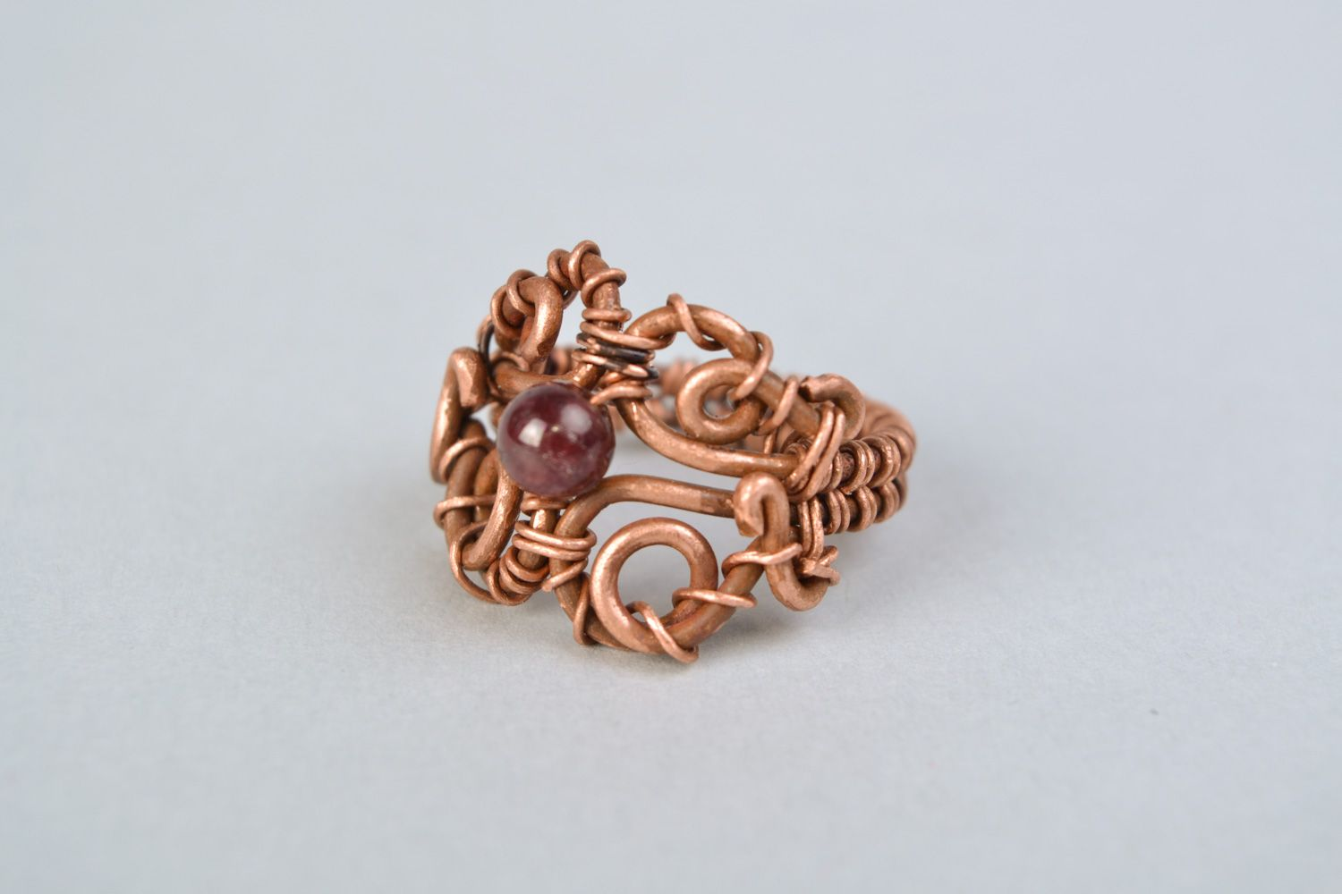 MADEHEART > Homemade wire wrap copper ring with garnet