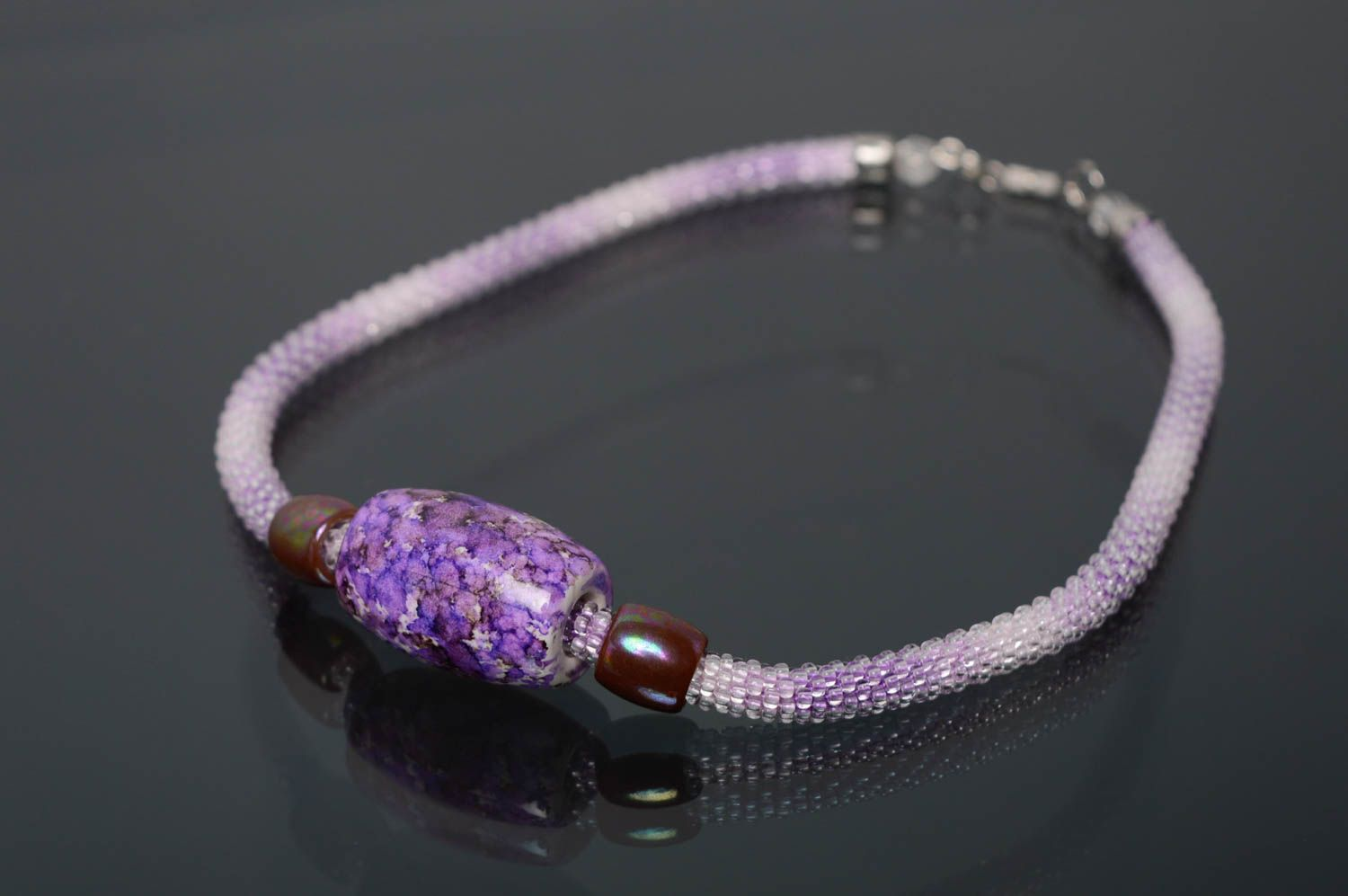 Violet beaded cord necklace photo 1