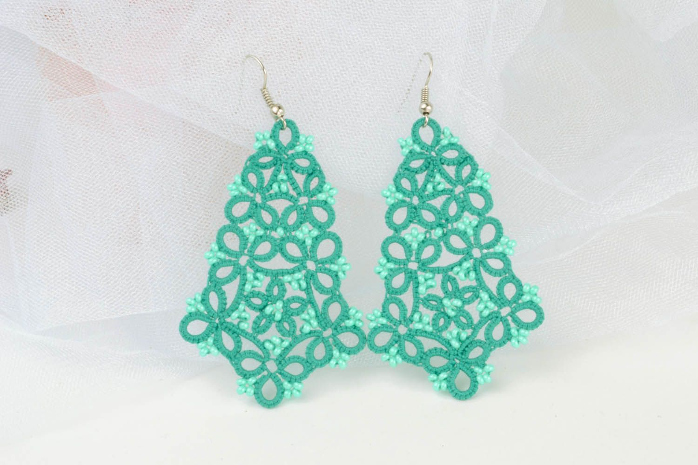 Lace blue earrings photo 1