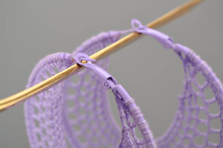 Purple crochet earrings  photo 5